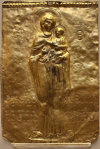 Hodegetria - 12th-century plaque found in Torcello Cathedral; a full-length figure like the original in Constantinople