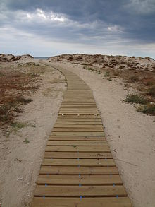 Walking path to the Mediterranean Sea in Oliva, Valencia Region of the Spain 01.JPG