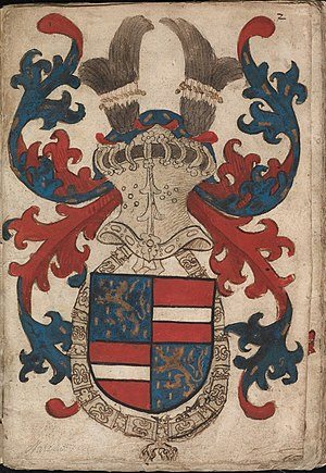 Engelbert II of Nassau - Coat of arms of Engelbert II of Nassau from the Nassau-Vianden armorial (ca. 1490)