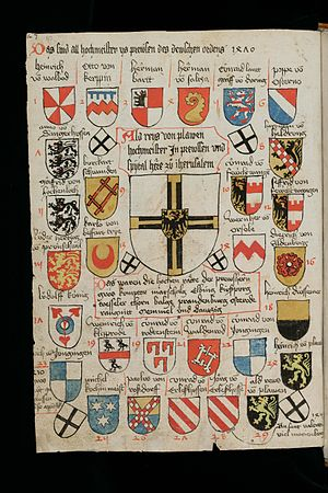 Grand Master of the Teutonic Order - Coats of arms of the 29 grand masters (until 1470, Heinrich Reuß von Plauen) in the St. Gallen armorial (Cod. sang. 1084)