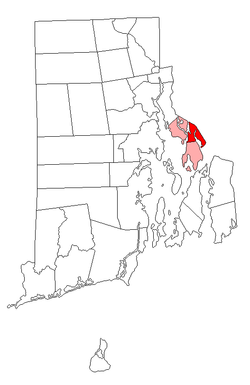 Location of Warren in Bristol County, Rhode Island