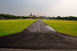 History of Bangkok - Sanam Luang in front of the Grand Palace complex. Since the city's foundation, the field has been used for various royal functions.
