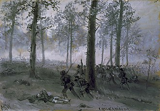 Battle of Chickamauga - Confederate troops advancing at Chickamauga (drawing by Alfred R. Waud)