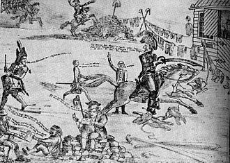 "SS Constitutionen - Drawing by Henrik Wergeland, picturing the ""battle at the market place"" at Stortorvet, Christiania."