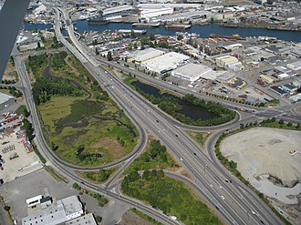 Washington State Route 509 - The northern terminus of SR 509, at an interchange with SR99 constructed in the 1960s