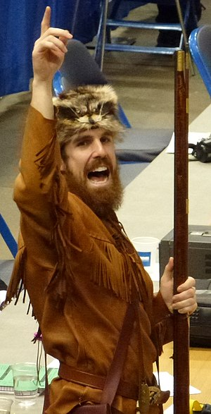 West Virginia Mountaineer - John, the 2012 West Virginia Mountaineer, cheering at the Big East Women's Basketball Tournament.