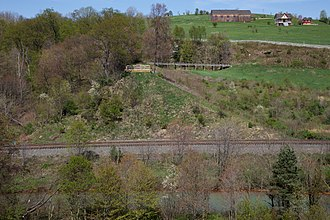 Johnstown Flood National Memorial - Dam abutment and Elias Unger's farm