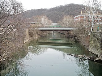 Wheeling Creek (West Virginia) - Wheeling Creek as viewed upstream from Main Street in downtown Wheeling in 2006