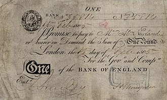 Bank of England note issues - £1 note, issued from London in 1805