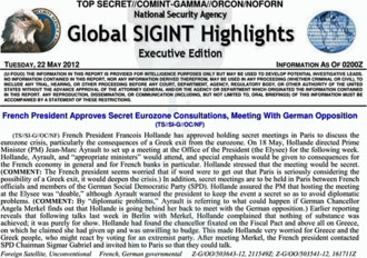 Sensitive Compartmented Information - Example of intelligence on covert meetings held by the  French President François Hollande. The intelligence was collected by the National Security Agency and classified as TOP SECRET//COMINT-GAMMA//ORCON/NOFORN, and released in form of a Global SIGINT Highlight on 22 May 2012.