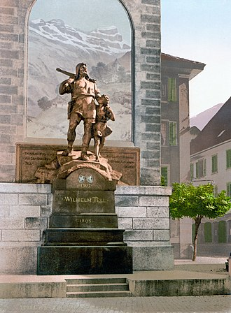 Altdorf, Uri - Wilhelm Tell memorial in Altdorf, circa 1900.