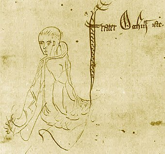"Sketch labelled ""frater Occham iste"", from a manuscript of Ockham's Summa Logicae, 1341 William of Ockham - Logica 1341.jpg"