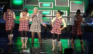 "Wind It Up (Gwen Stefani song) - Stefani performing ""Wind It Up"" during the 2007 Sweet Escape Tour"