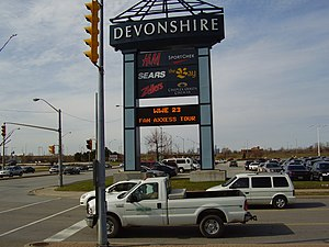 Devonshire Mall - The Devonshire Mall marquee on Howard Avenue at the E.C. Row Expressway, promoting the WrestleMania 23 Fan Axxess Tour.