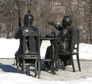 Henrietta Edwards - Holding tea cup, Famous Five statue, Parliament Hill, Ottawa