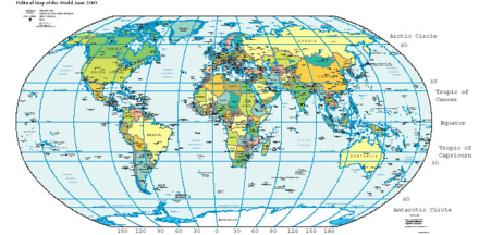 Map of Earth showing lines of latitude (horizontally) and longitude (vertically), Eckert VI projection; large version (pdf, 1.8MB)