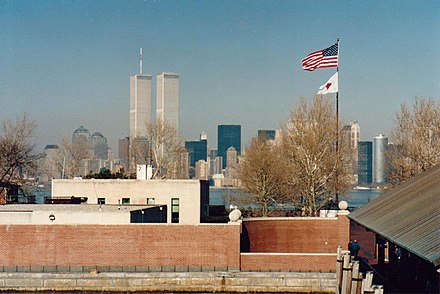 The World Trade Center, as seen from Liberty Island in 1995 World Trade Center 1995.jpg