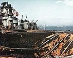 Wrecked flight deck of USS Franklin (CV-13) on 28 April 1945.jpg