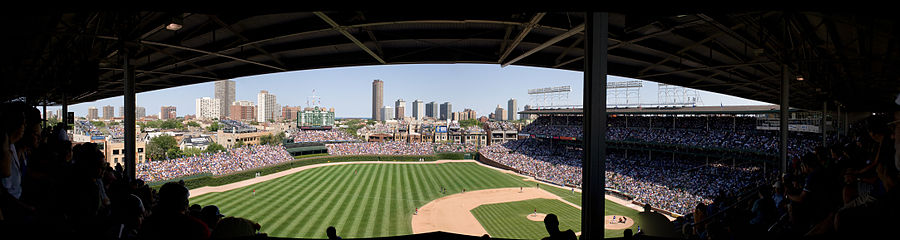28282455f11 A panoramic view of Wrigley Field from the upper deck prior to 2015  outfield bleacher expansion.