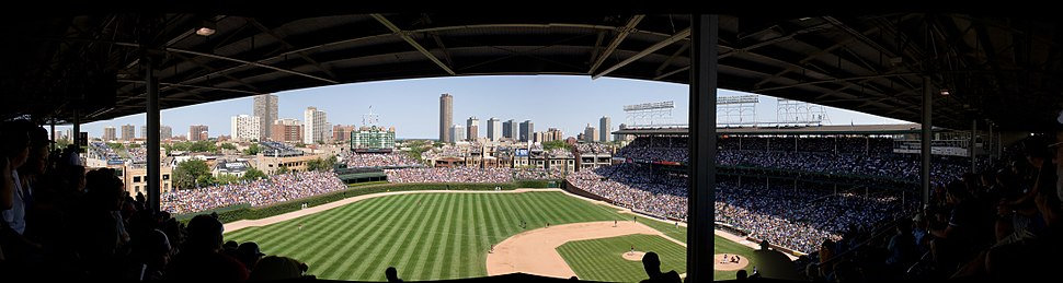 A panoramic view of Wrigley Field from the upper deck prior to 2015 outfield bleacher expansion.