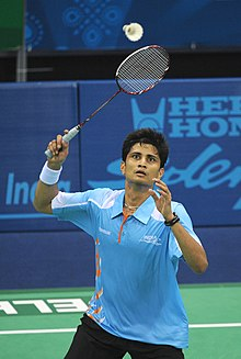 XIX Commonwealth Games-2010 Delhi Badminton (Men's Single) Chetan Anand of India in an action against Snider of Canada, at Sirifort Sports Complex, in New Delhi on October 07, 2010.jpg