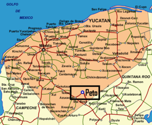 Peto Municipality - Location of Peto in Yucatán