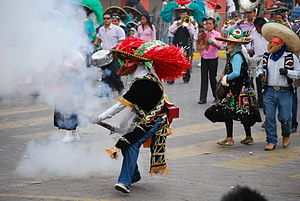 "Carnival in Mexico - Participant dressed as a ""Zacapoaxtla"" at the carnival in Huejotzingo, Puebla"
