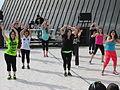 Zumba dancers at UAF Springfest 2014.JPG