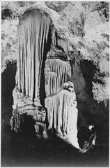 """Illuminated stalactite, man on right, Large Stalactite Formation in 'the Kings Palace,' Carlsbad Caverns National Park, - NARA - 520025.tif"