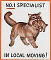 """""""NO. 1 SPECIALIST IN LOCAL MOVING!"""" CAT ART DETAIL, 1953 - Arthur W Glose - Matchcover - Allentown PA (cropped).jpg"""