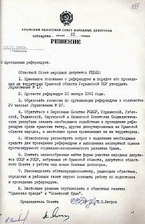 1991 Crimean sovereignty referendum On whether to re-establish the Crimean Autonomous Soviet Socialist Republic