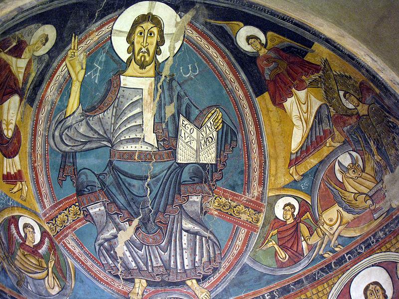 051 Absis de Sant Climent de Taüll, el Crist amb àngels i el Tetramorf.jpg
