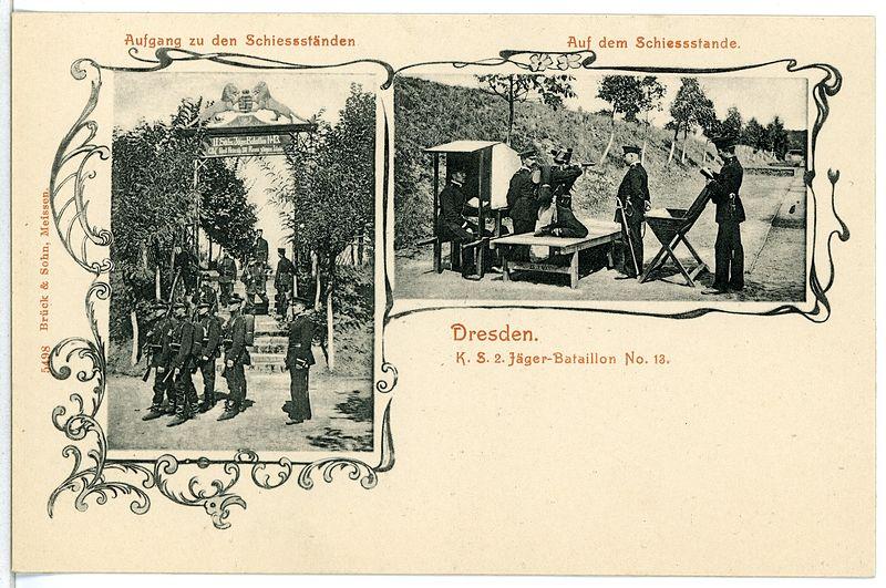 File:05498-Dresden-1904-2. Königlich Sächsisches Jäger-Bataillon Nr. 13 - Schießstände-Brück & Sohn Kunstverlag.jpg