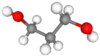 Ball and stick model of 1,3-propanediol