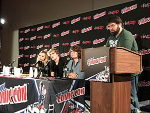 Logan Paul - Paul on a panel discussing The Thinning at the New York Comic Con with (left to right) co-star Peyton List, writer/director Michael Gallagher and moderator Andy Signore