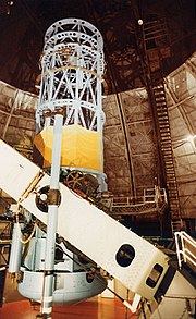 The 100 inch Hooker telescope at Mount Wilson Observatory that Hubble used to measure galaxy redshifts and a value for the rate of expansion of the universe.