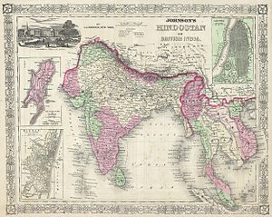 Hindustan - Johnson's Hindostan or British India map, 1864
