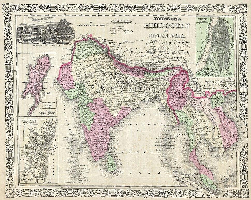 1864 Johnson%27s Map of India (Hindostan or British India) - Geographicus - India-j-64
