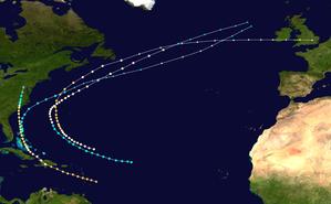 1883 Atlantic hurricane season - Image: 1883 Atlantic hurricane season summary map