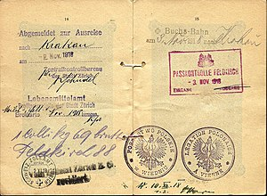 Polish passport - 1918 Polish consular validation of a passport - very early example from the young Second Republic.
