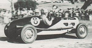 Lobethal Circuit - Race winner Jack Phillips (Ford V8) contesting the 1940 South Australian Hundred on the Lobethal Circuit