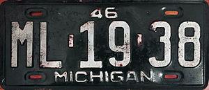 1946 in Michigan - Image: 1946 Michigan license plate