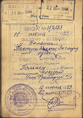 Soviet occupation zone - 1949 Soviet visa from occupied Germany in a Polish service-passport.