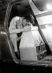 1950. John F. Wear observing through strip viewer. Cessna 195. Oregon. (33422896876).jpg