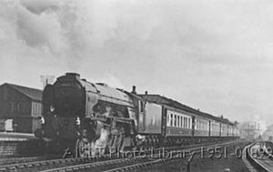 LNER Peppercorn Class A1 - 60133 Pommern passing Leeds-Holbeck High Level Station hauling Leeds Central to Kings Cross Yorkshire Pullman