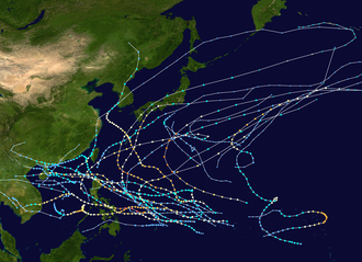 1951 Pacific typhoon season - Image: 1951 Pacific typhoon season summary map