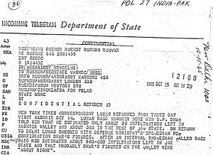"Indo-Pakistani War of 1965 - A declassified US State Department letter that confirms the existence of hundreds of ""infiltrators"" in the Indian-administered part of the disputed Kashmir region. Dated during the events running up to the 1965 war."
