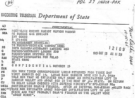 "A declassified US State Department letter that confirms the existence of hundreds of ""infiltrators"" in the Indian-administered part of the disputed Kashmir region. Dated during the events running up to the 1965 war. 1965 Infiltrators.jpg"