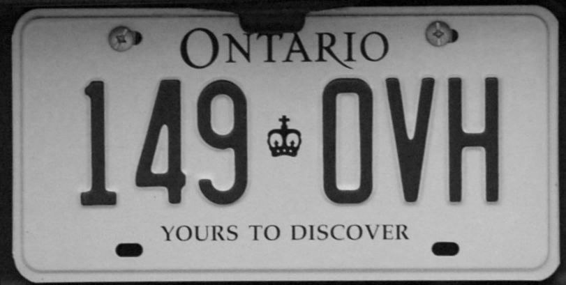 1996 Ontario license plate 149♔OVH commercial