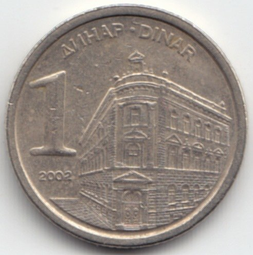1 Dinar SR Jugoslavija 2002 Front